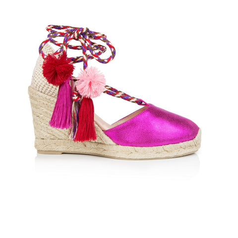 aa30125d3b4f Shimmie: Fuchsia Pink Espadrille Wedges from Air & Grace