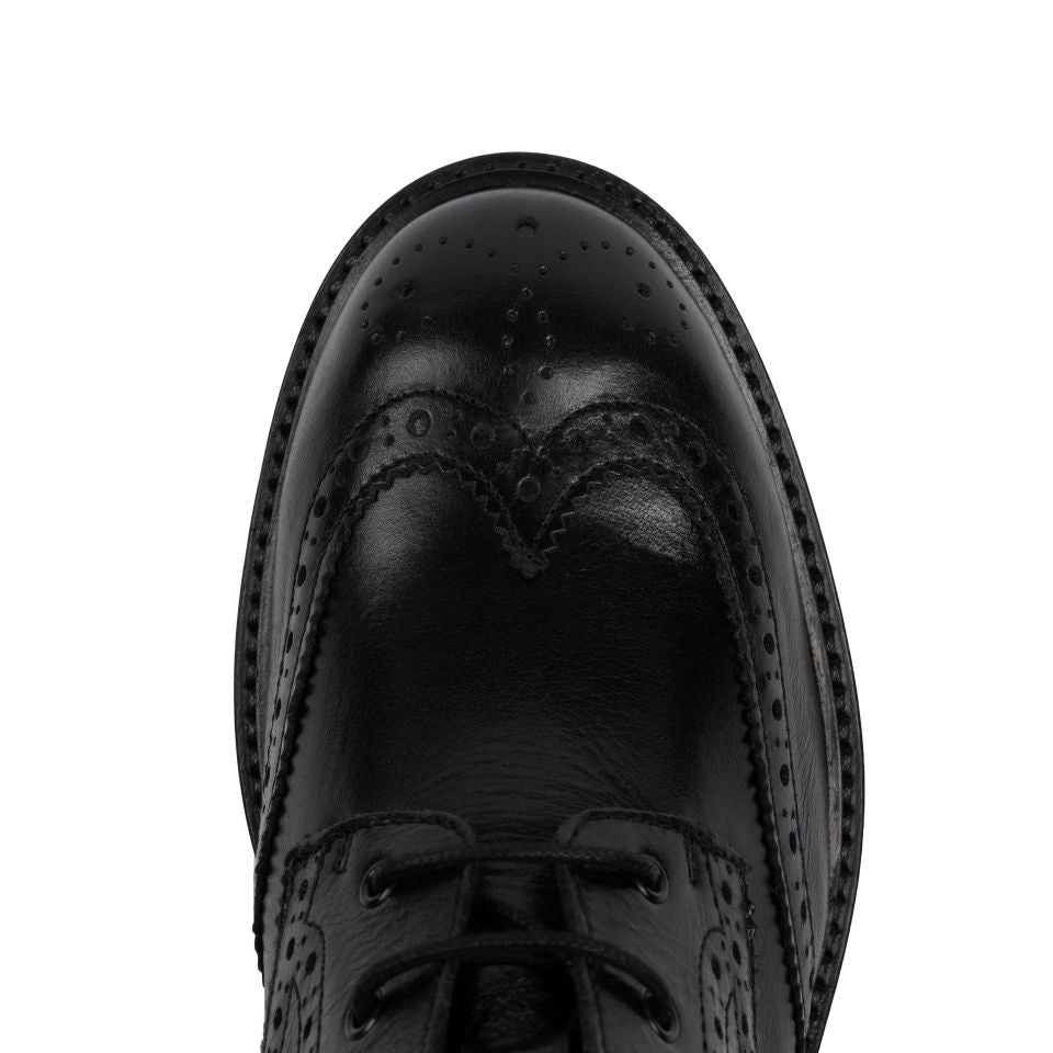 RILEY: BLACK LEATHER LACE-UP BROGUE BOOTS -  Pre-Order (dispatch w/c 7th December)