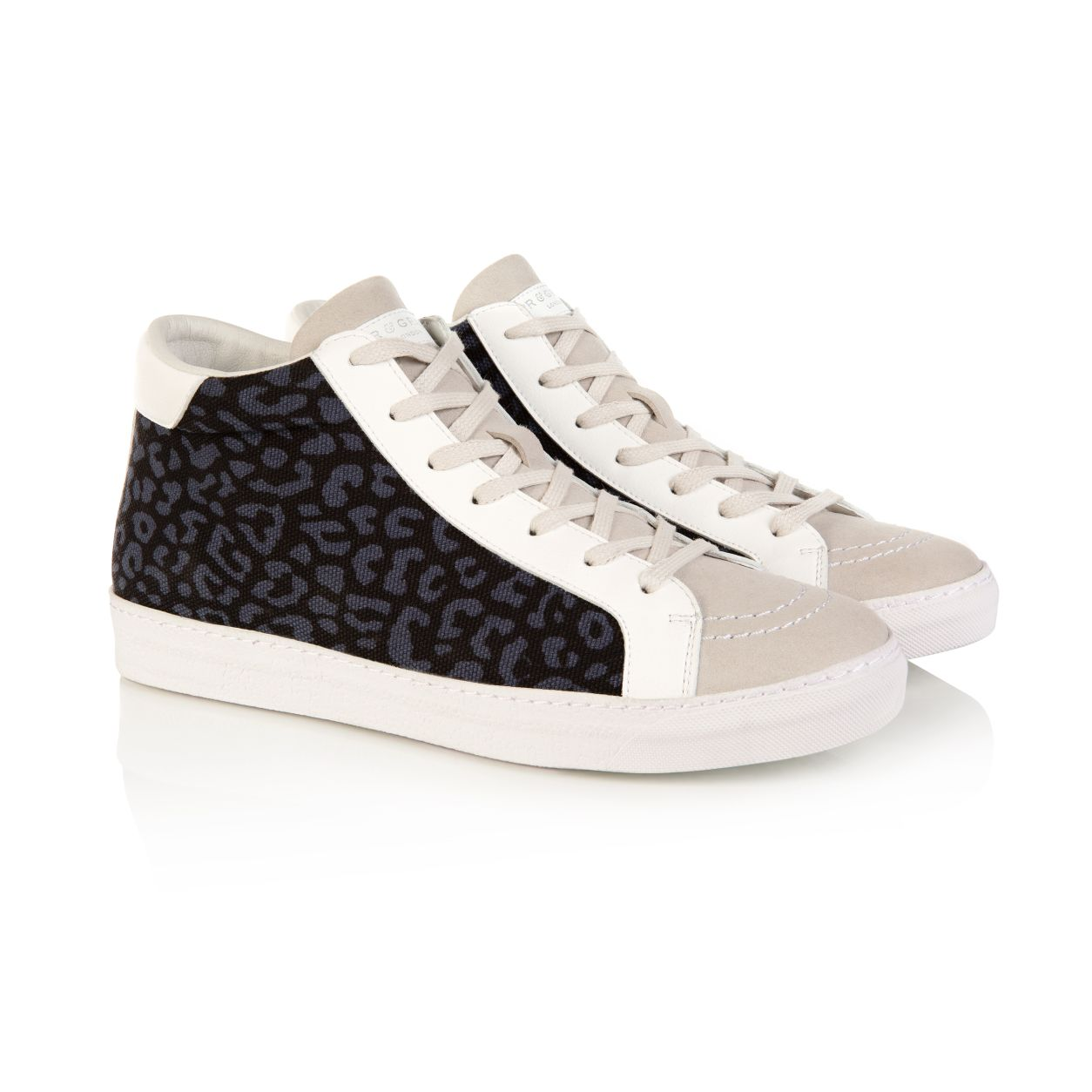 ALTO VEGAN: INDIGO LEOPARD PRINT HIGH TOPS - (PRE-ORDER - DISPATCH W/C 24TH AUGUST)