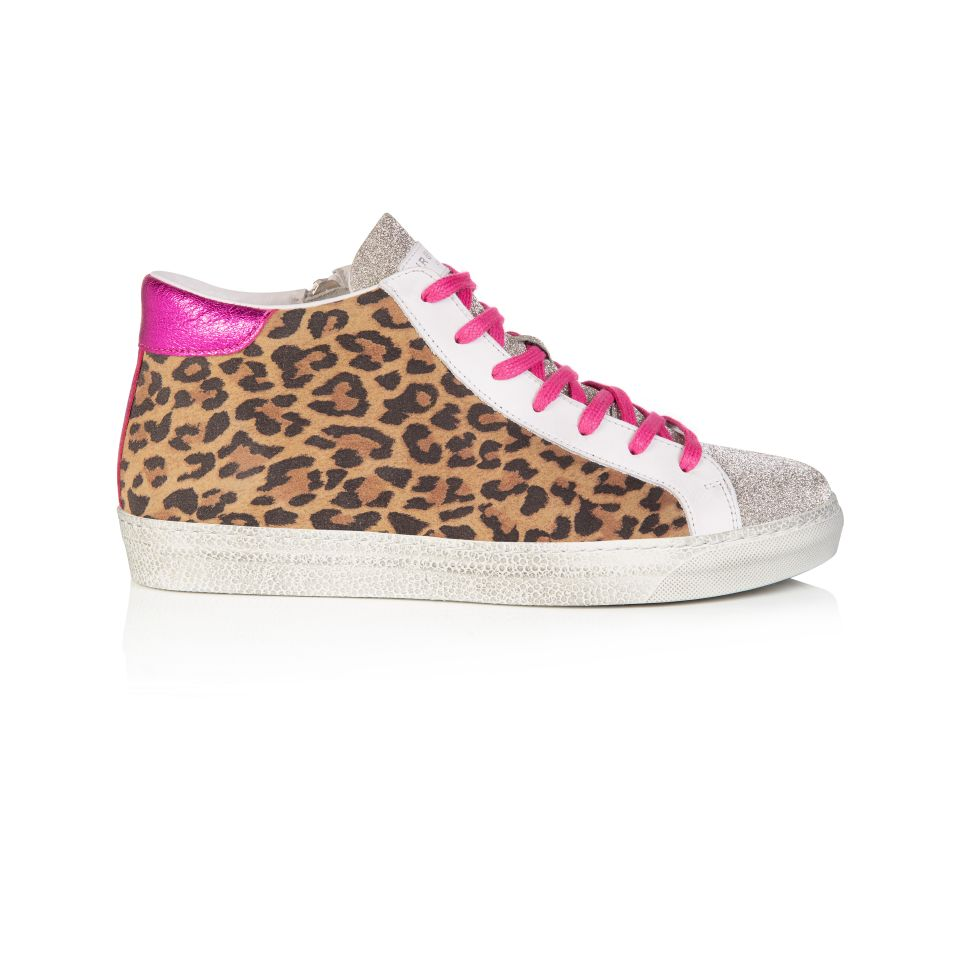 ALTO: LEOPARD SUEDE AND PINK METALLIC HIGH TOP TRAINER