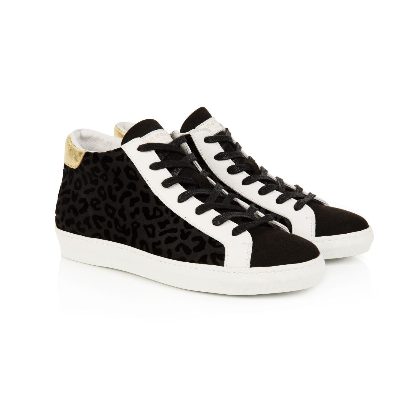 ALTO: BLACK LEOPARD HIGH TOP TRAINERS