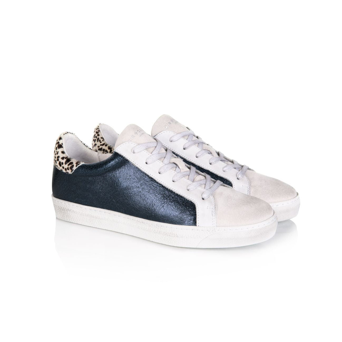 CRU: NAVY METALLIC AND DOTTY PRINT TRAINERS