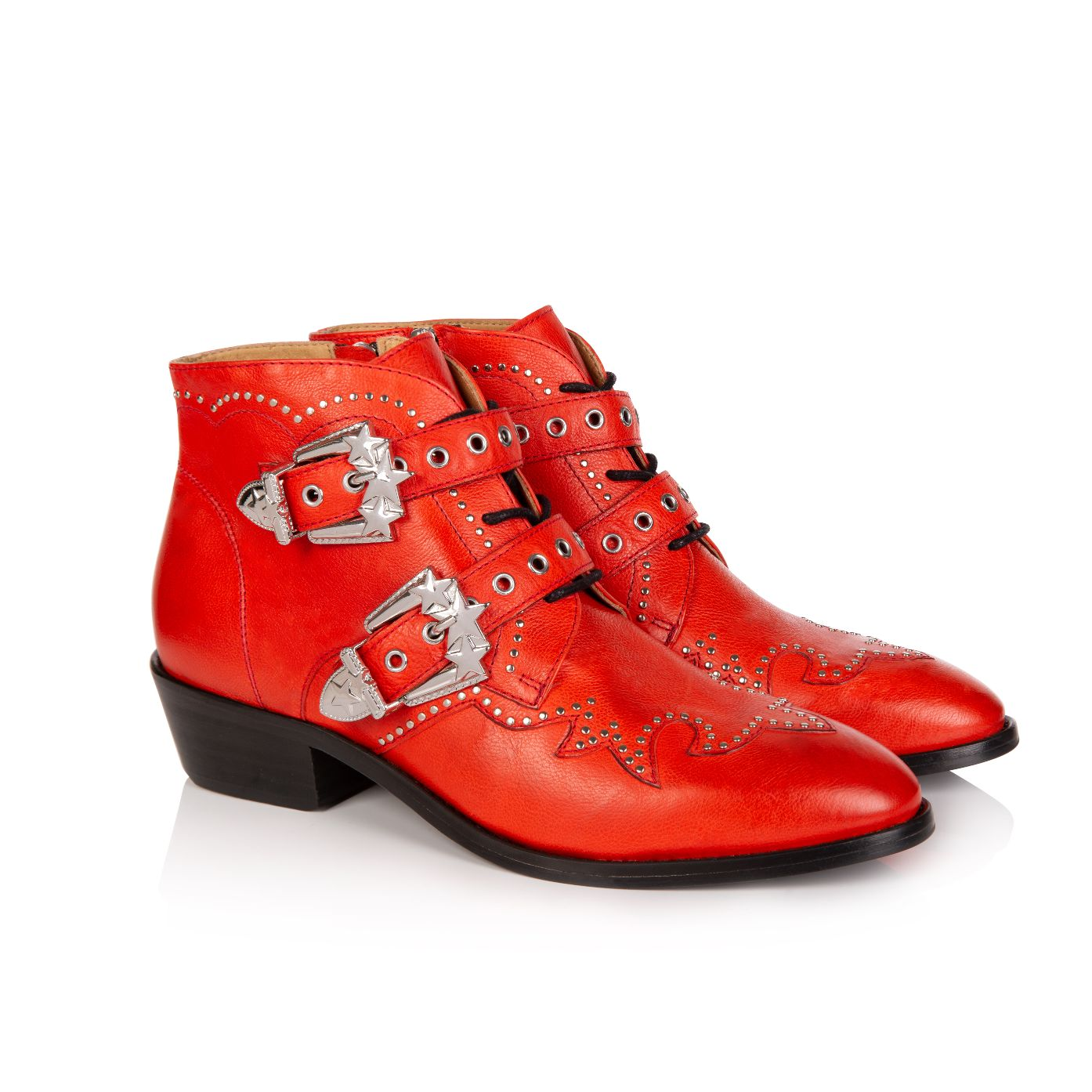 STARLIGHT: RED LEATHER ANKLE BOOTS