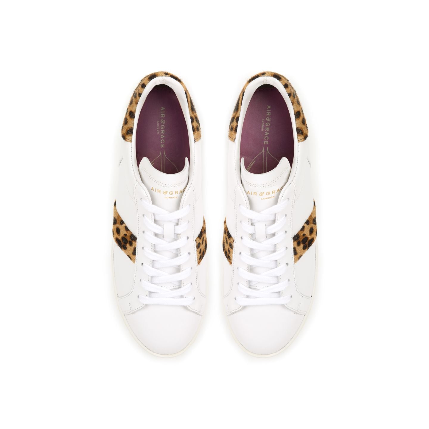 COPELAND: WHITE & LEOPARD PRINT TRAINERS