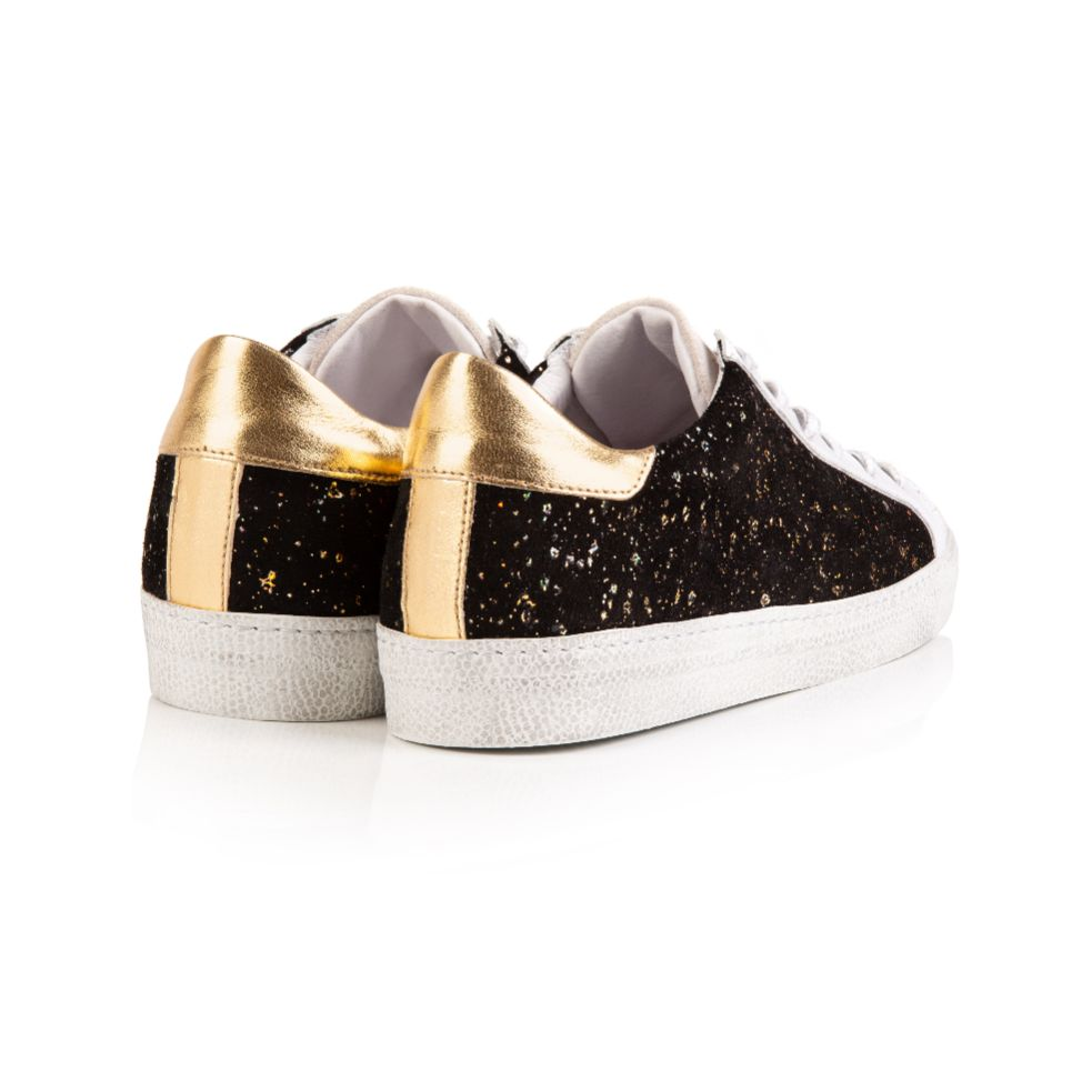 CRU: BLACK AND GOLD SUEDE TRAINERS