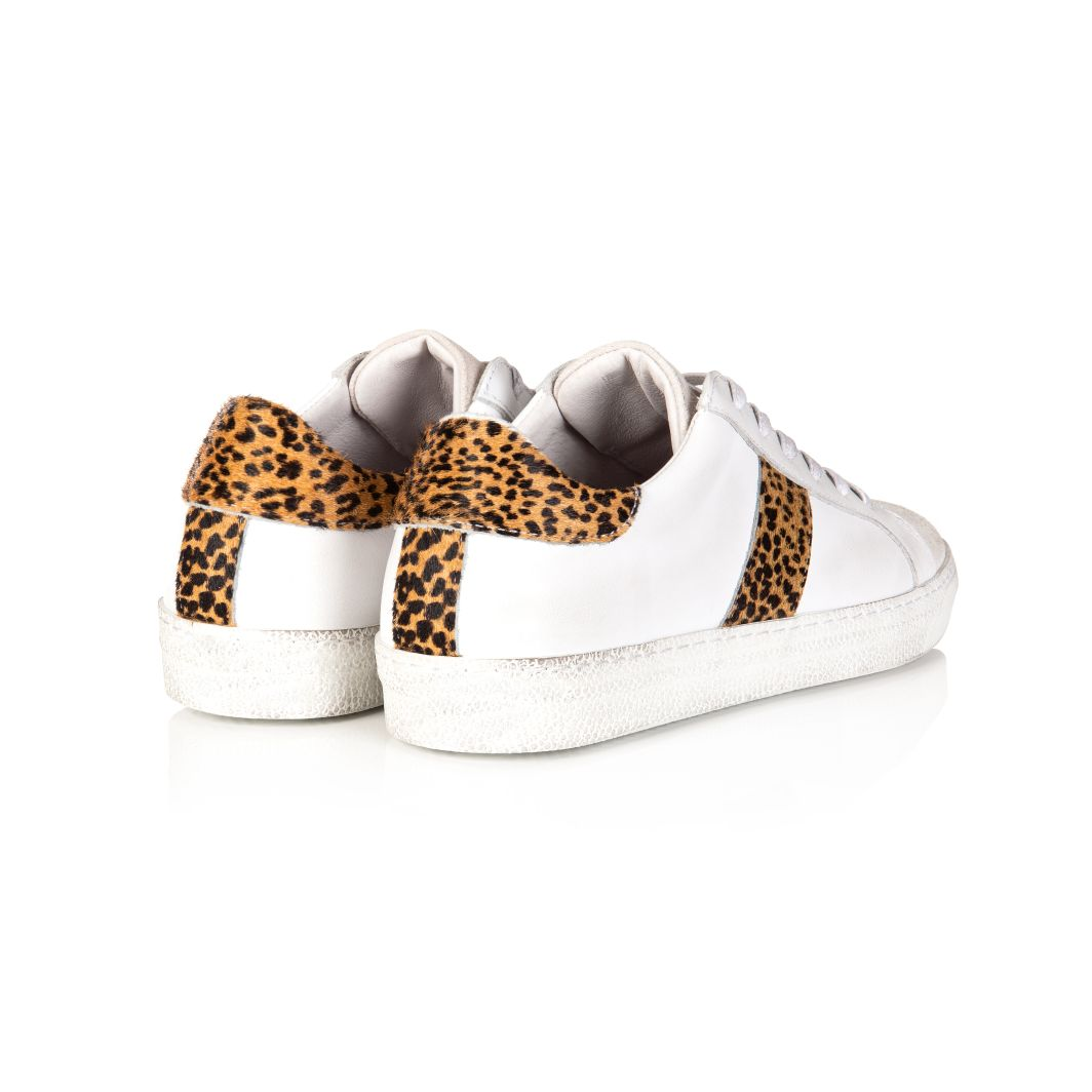 CRU: WHITE & CHEETAH PRINT TRAINERS
