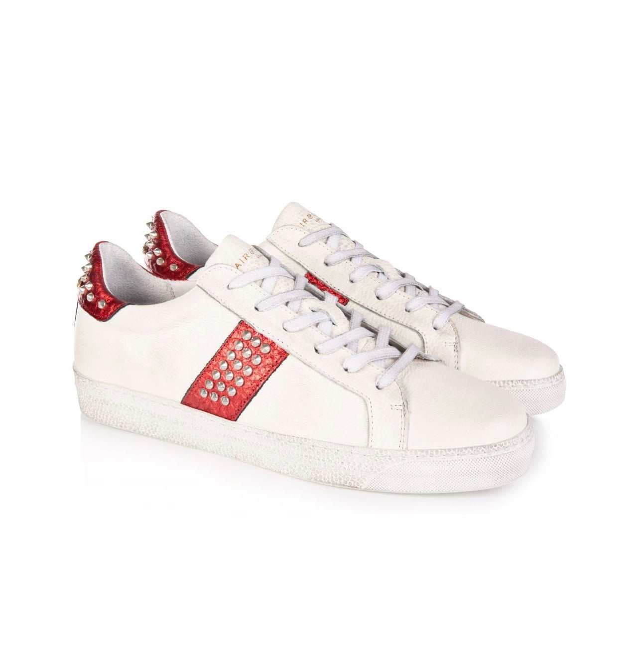 CRU: RED STUDDED STRIPE TRAINERS