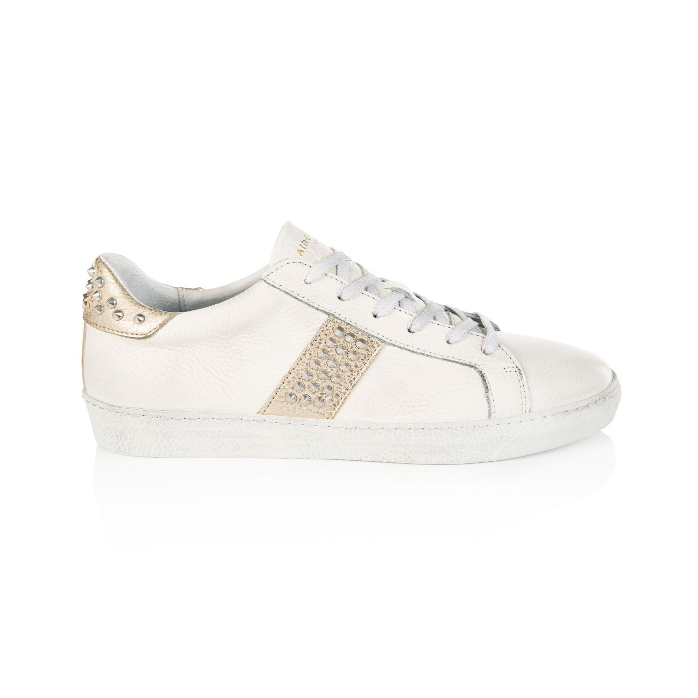 CRU: STUDDED WHITE & GOLD TRAINERS