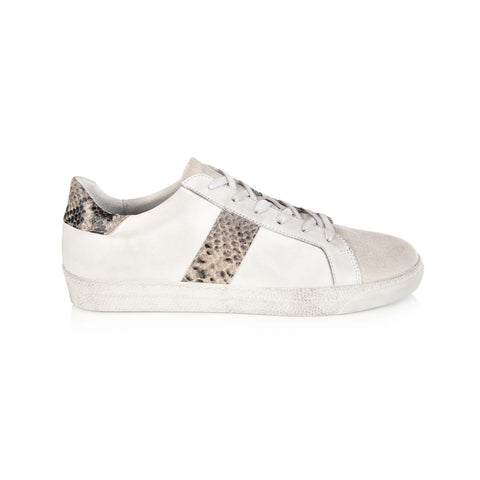 CRU: WHITE & NATURAL SNAKE PRINT TRAINERS