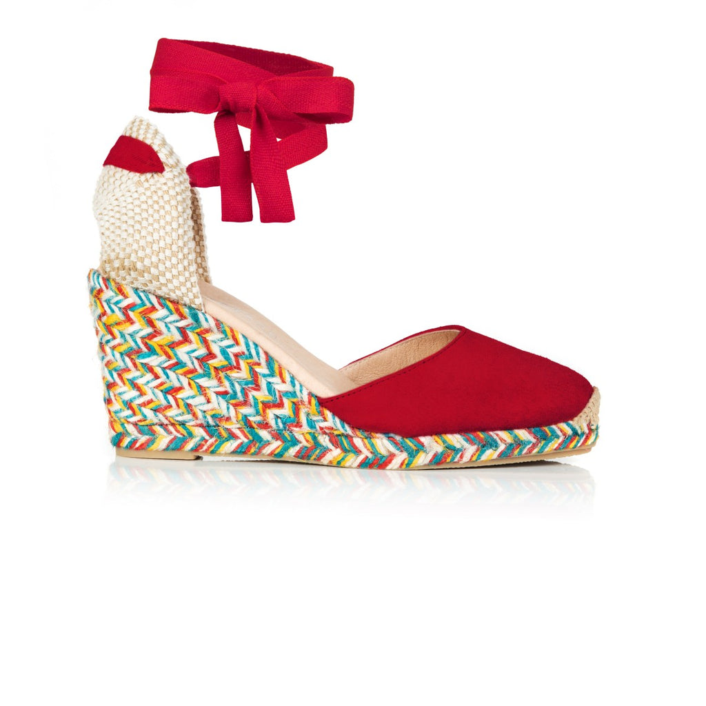 SHIMMIE: RED & MULTI COLOUR ESPADRILLE WEDGES