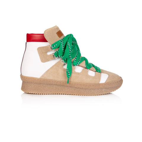 HESTER: WHITE MULTI COLOURED CHUNKY HIKER BOOTS: Pre-Order (Dispatch W/C 21st October)