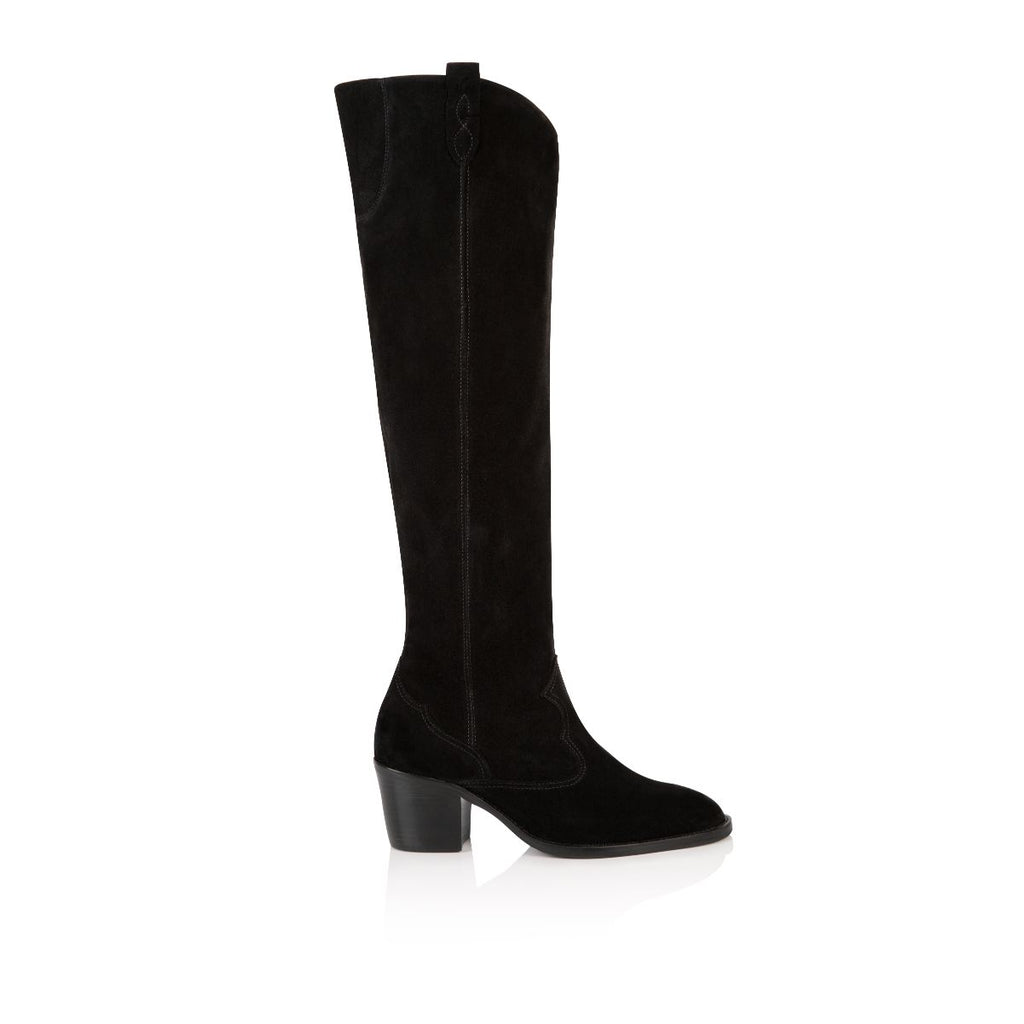 HUTTON: BLACK SUEDE TALL BOOTS