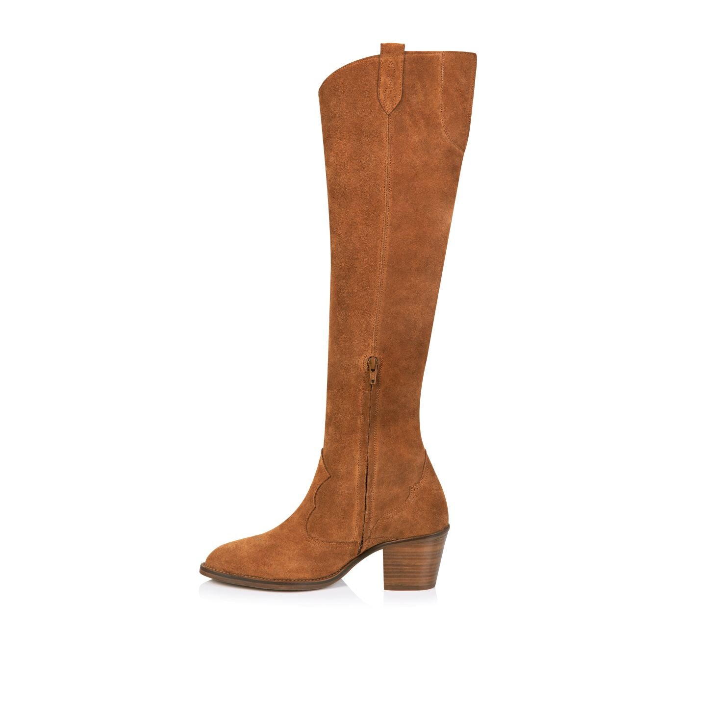 HUTTON: TAN SUEDE TALL BOOTS