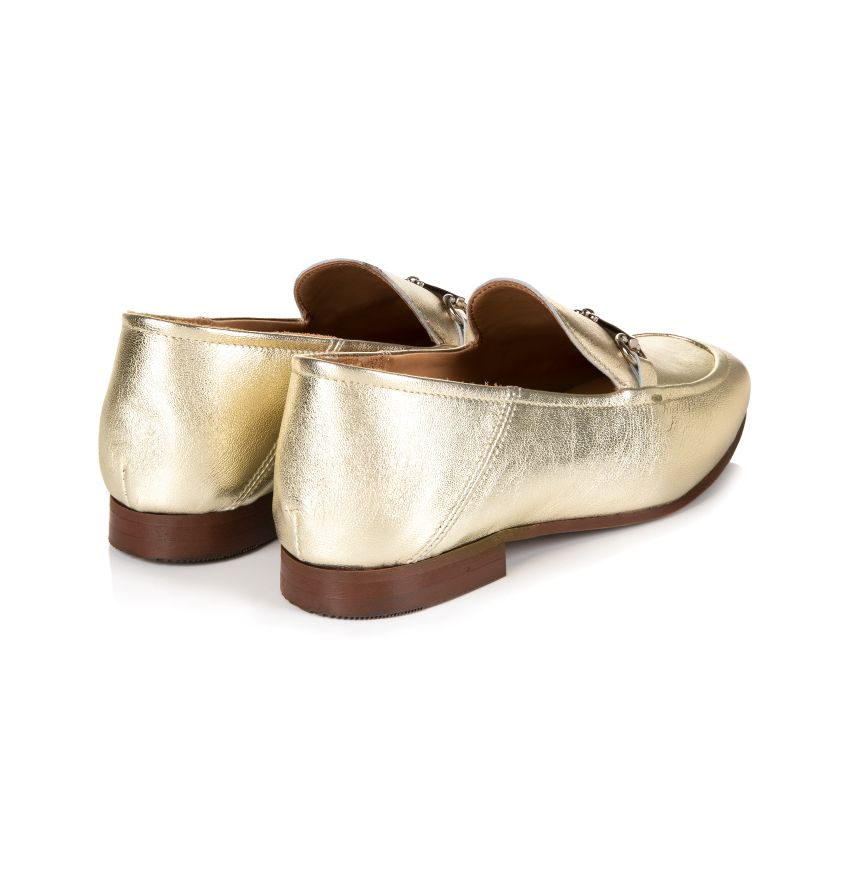 HARPER: GOLD LEATHER LOAFERS