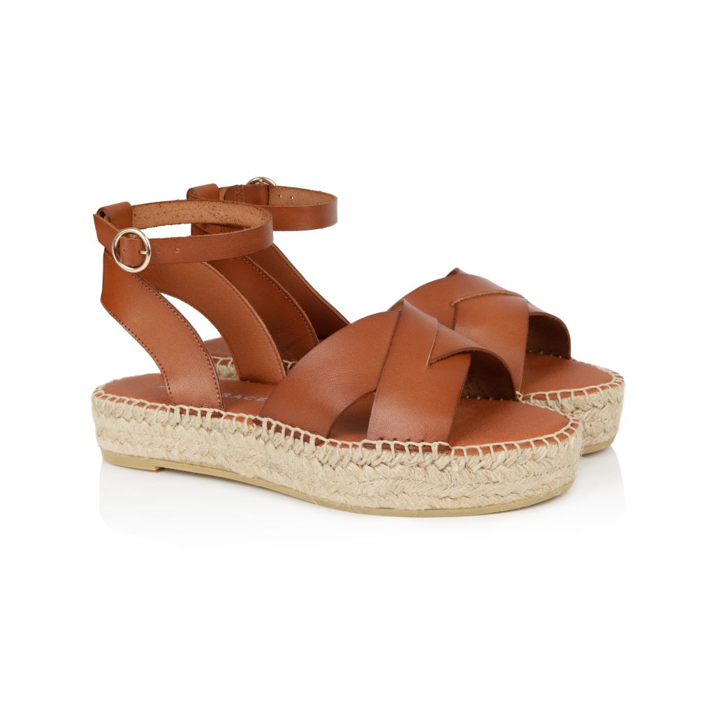 NOVA: TAN LEATHER ESPADRILLE