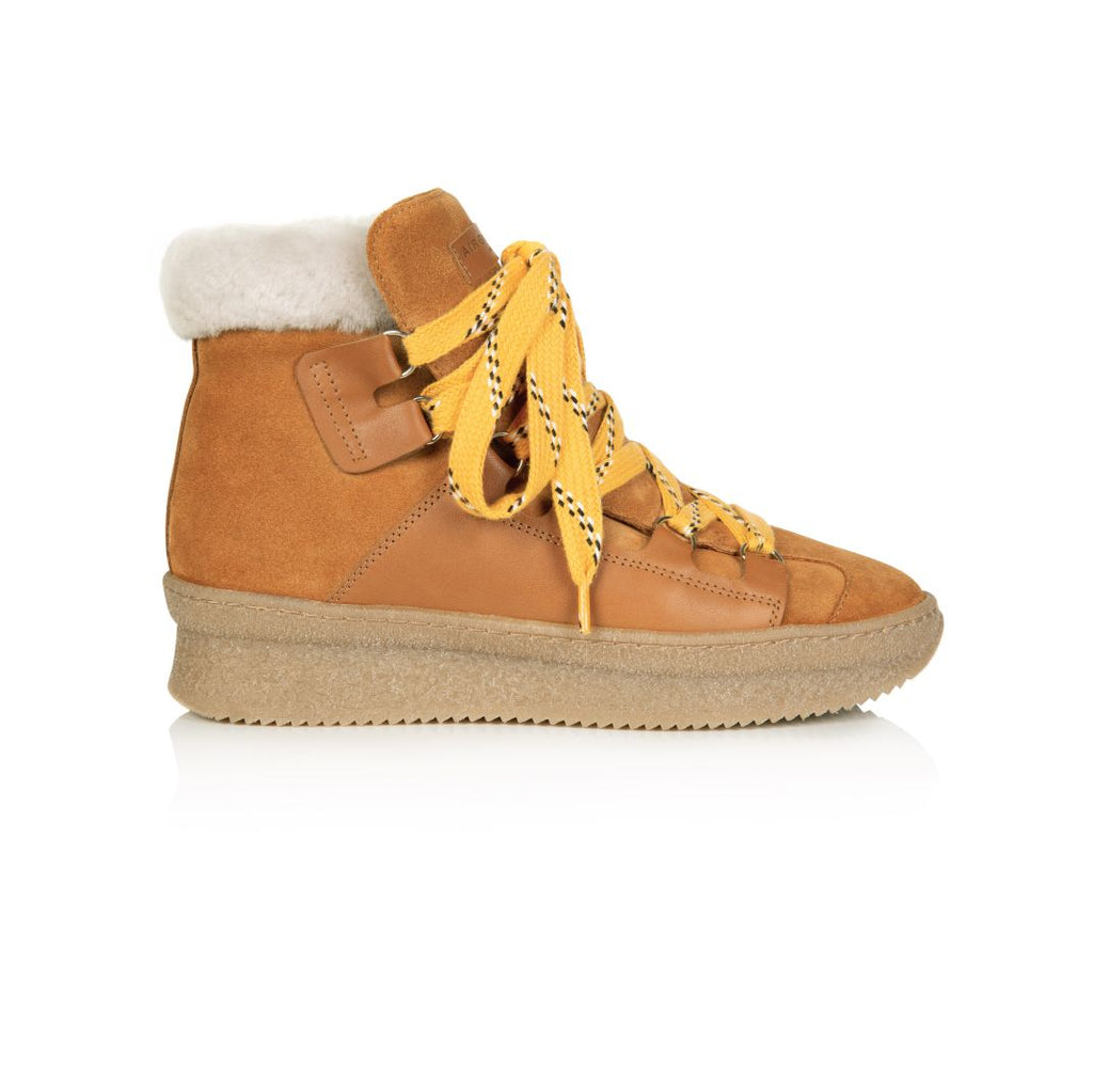 HESTER: SHEARLING TAN SUEDE CHUNKY HIKER BOOTS **Coming Soon**