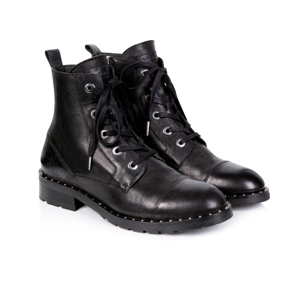 JESSA: BLACK LEATHER LACE-UP BOOTS - Pre-Order (Dispatch W/C 16th December)