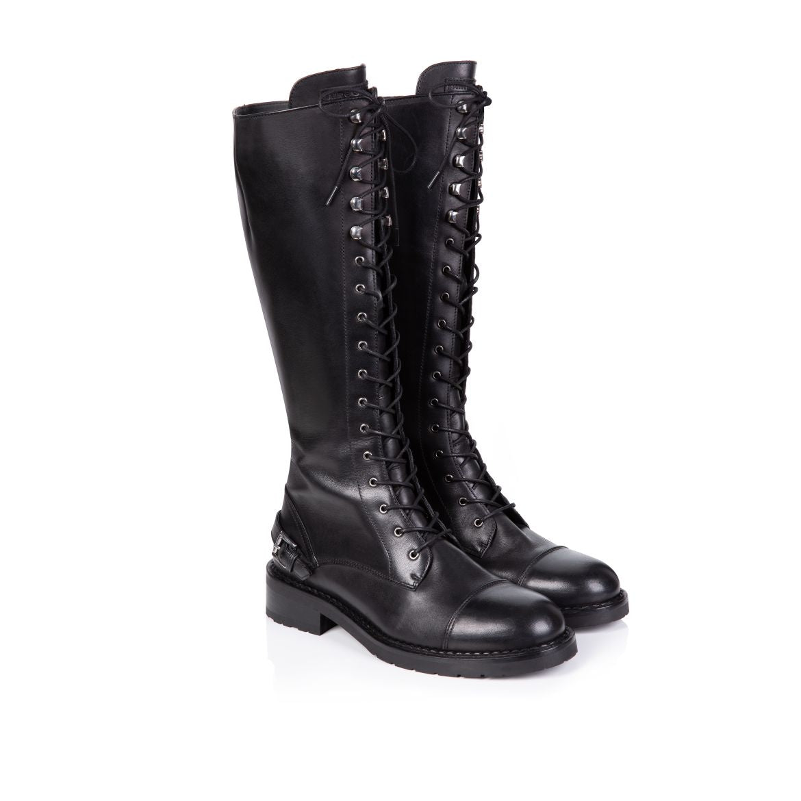 MARIANNE: BLACK LEATHER KNEE HIGH LACE-UP BOOTS