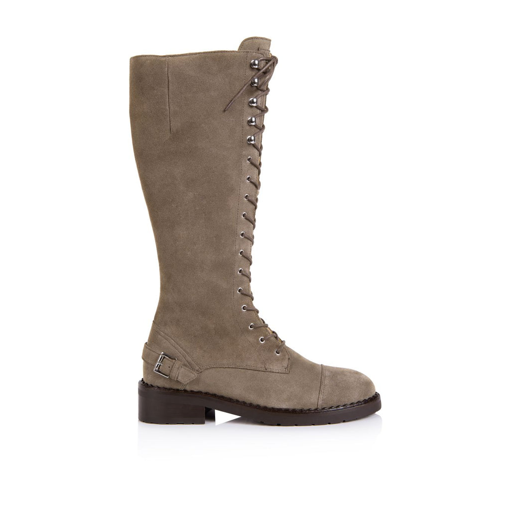 MARIANNE: TAUPE SUEDE TALL LACE UP BOOTS
