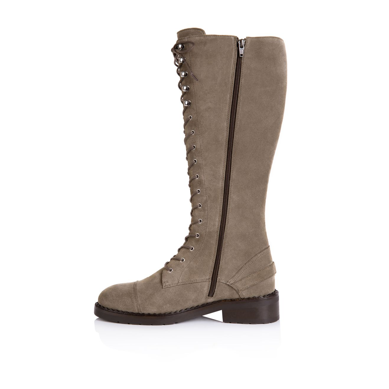 MARIANNE: TAUPE SUEDE KNEE HIGH LACE UP BOOTS