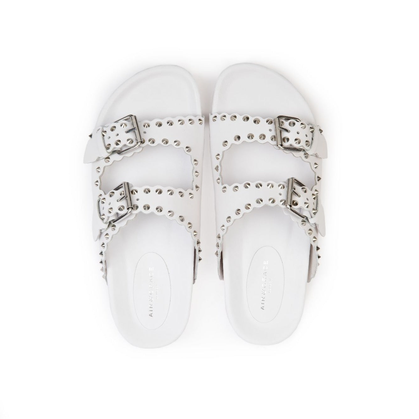 MOLI: WHITE LEATHER STUDDED SANDALS