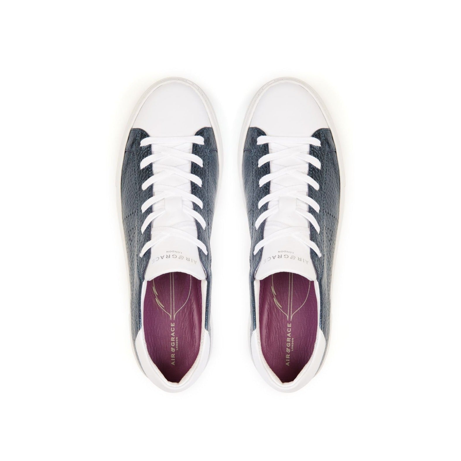 ROXY: NAVY METALLIC PLATFORM TRAINERS
