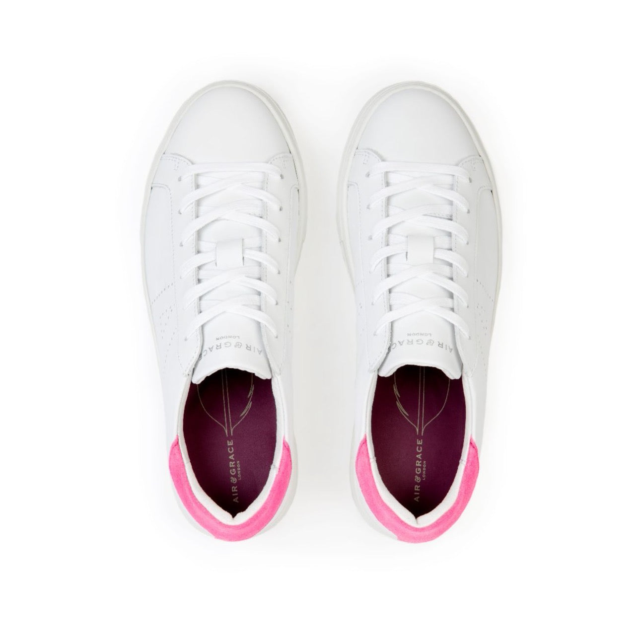 ROXY: WHITE & NEON PINK TRAINERS