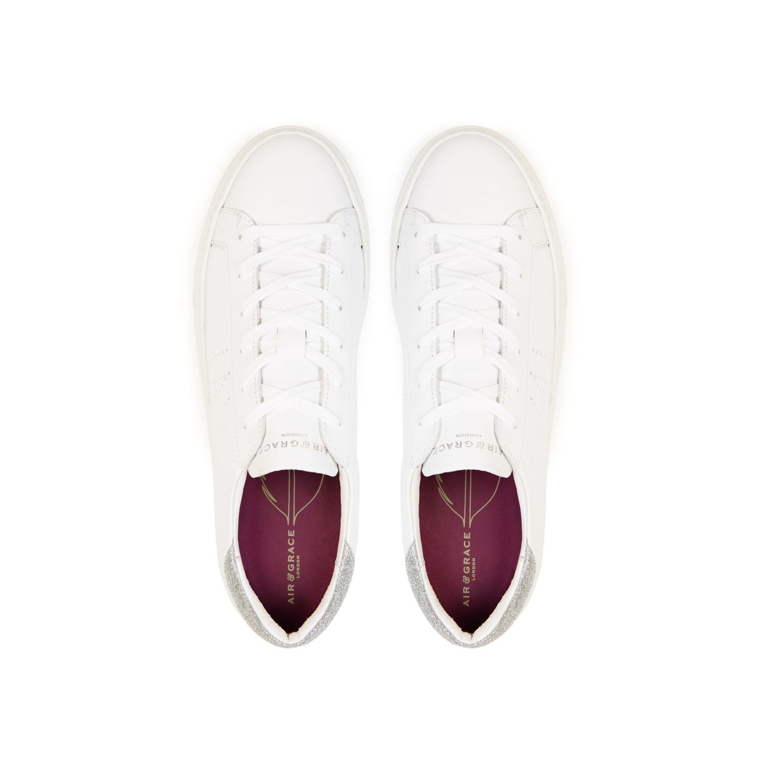 ROXY: WHITE & SILVER GLITTER PLATFORM TRAINERS  - (Pre-Order - dispatch w/c 28th September)