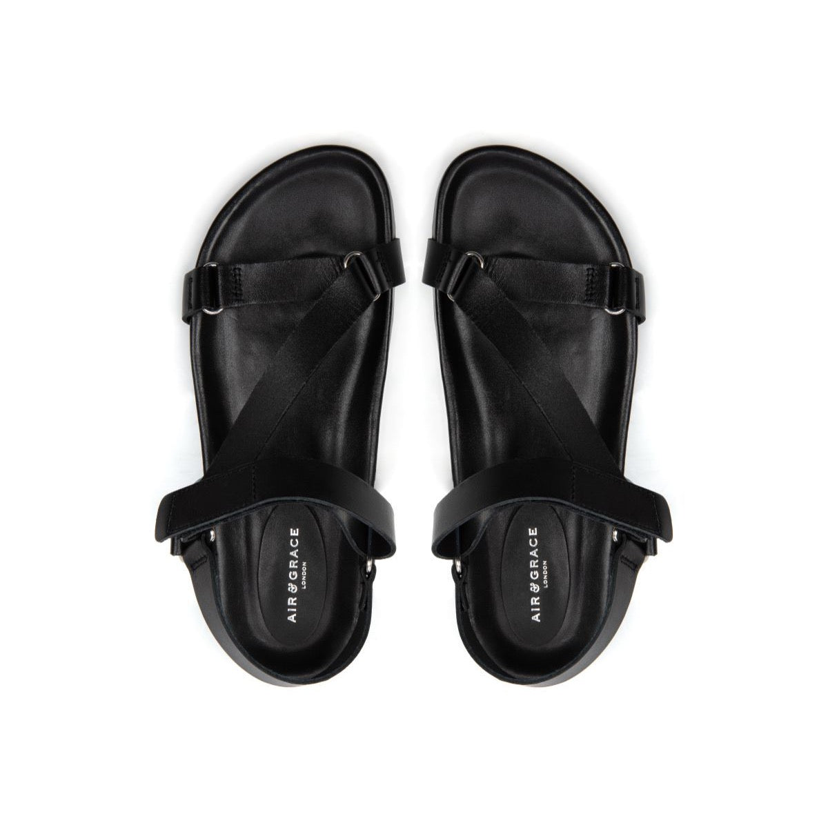 LENA: BLACK LEATHER SANDALS