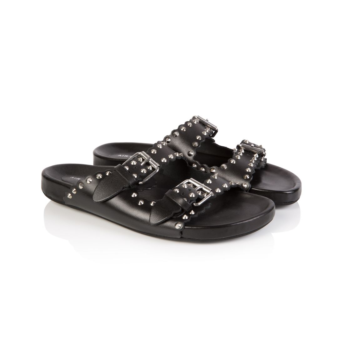 MOLI: BLACK LEATHER STUDDED SANDALS