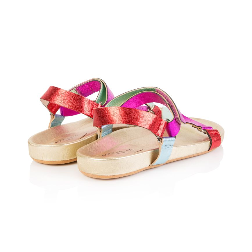 LENA: RAINBOW MULTI METALLIC SANDALS