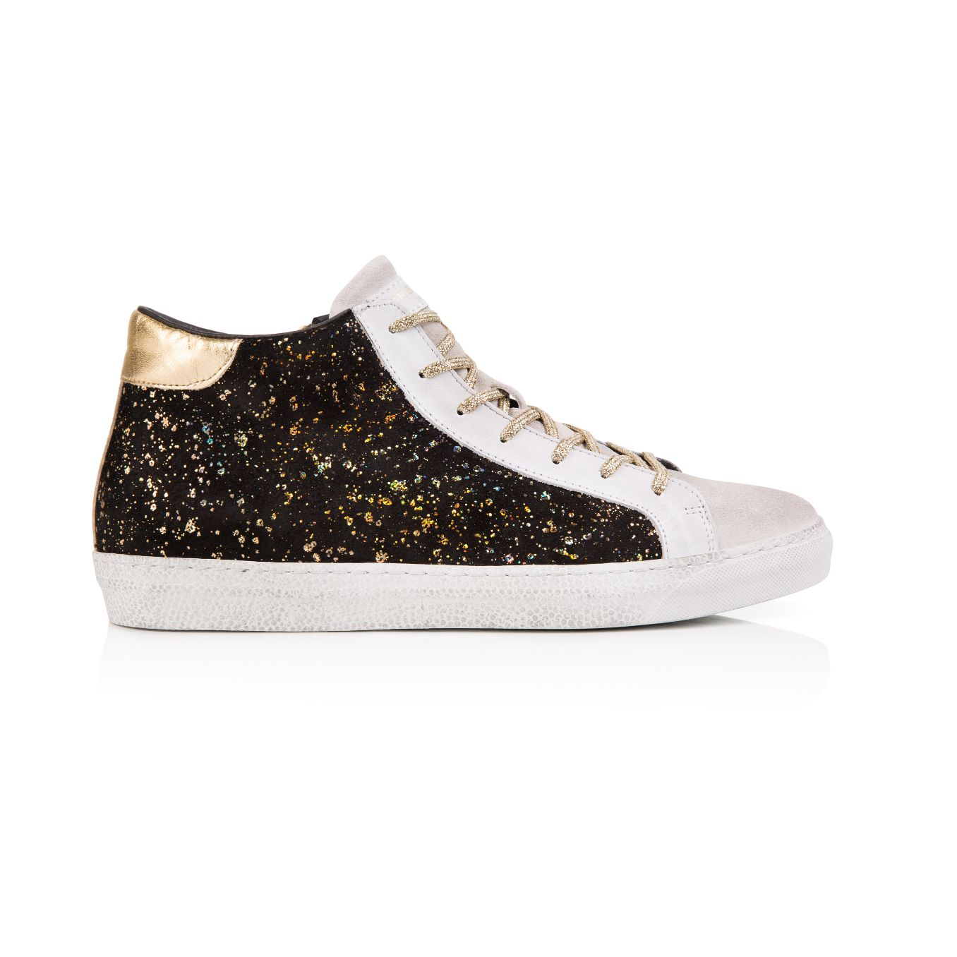 Alto: Black and Gold Suede High Top