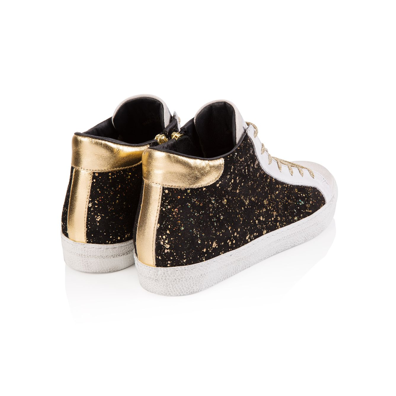 ALTO: BLACK AND GOLD SUEDE HIGH TOP TRAINER