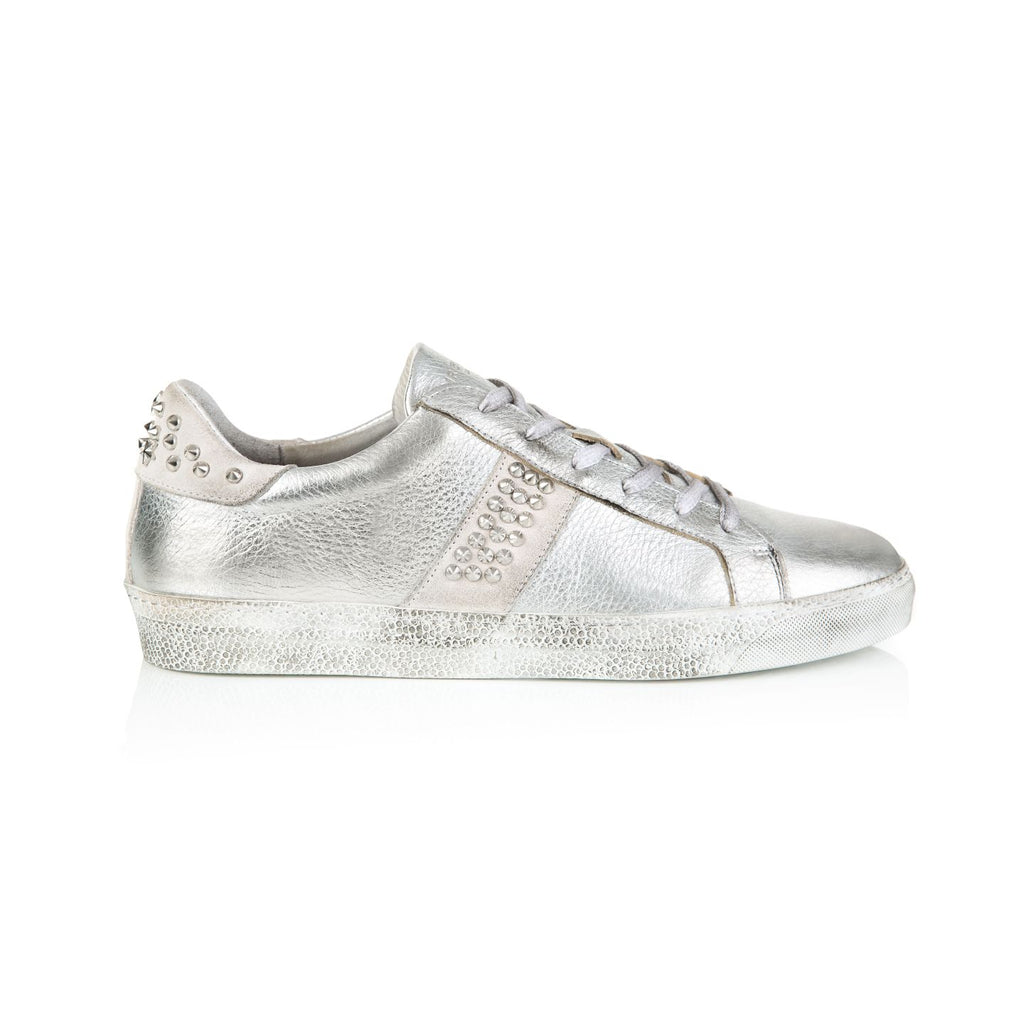 CRU: STUDDED SILVER LEATHER TRAINERS