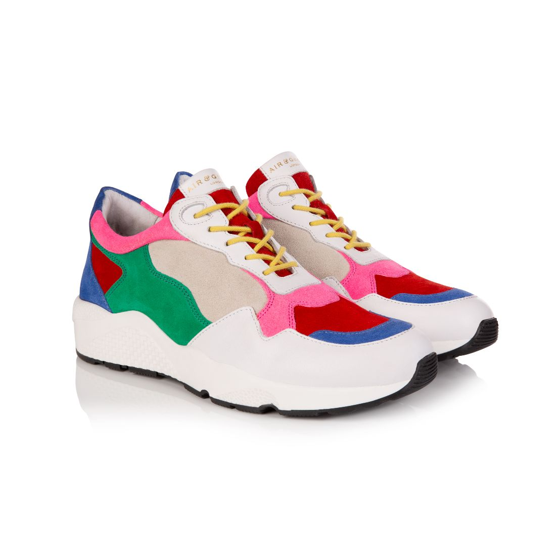COSMIC: MULTI COLOURED BRIGHT SUEDE TRAINERS