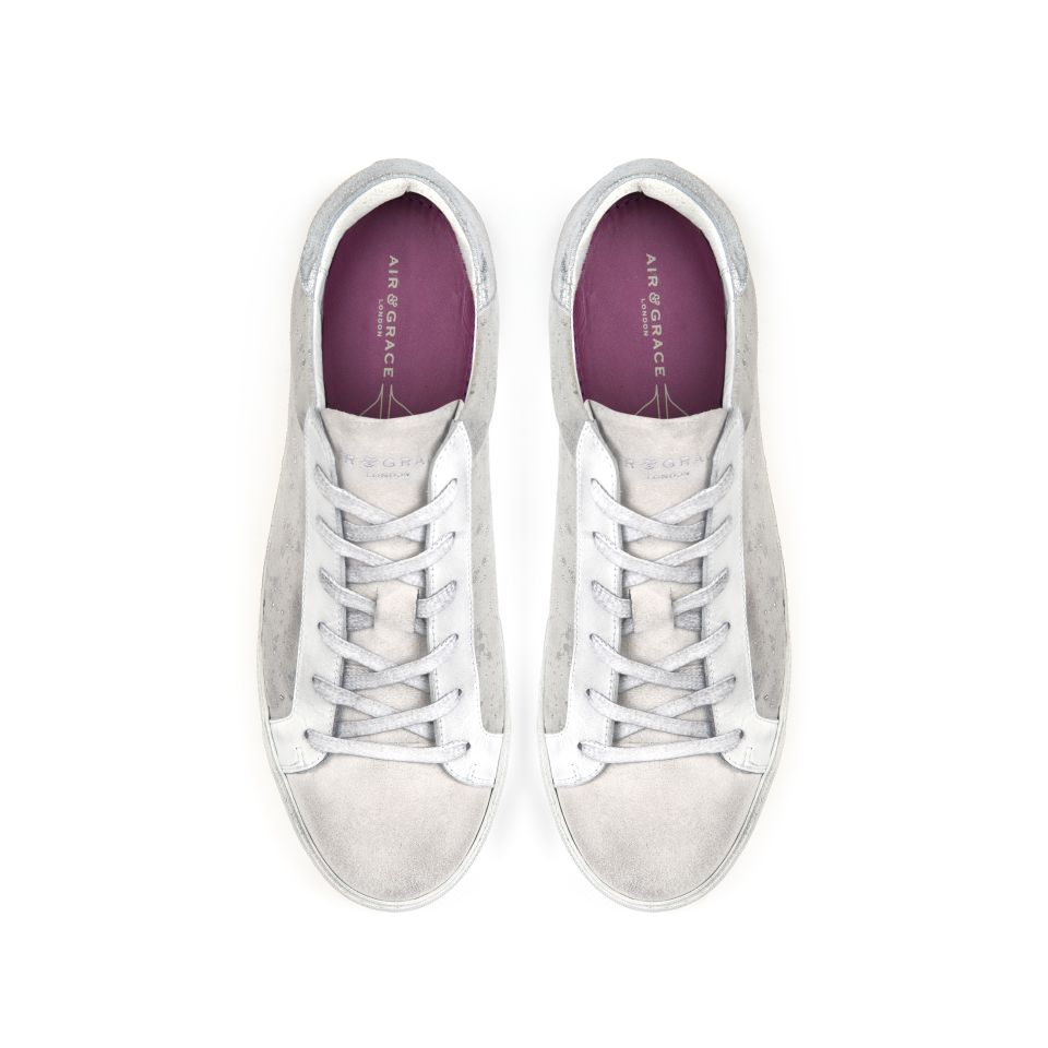 CRU: WHITE AND SILVER SUEDE TRAINERS