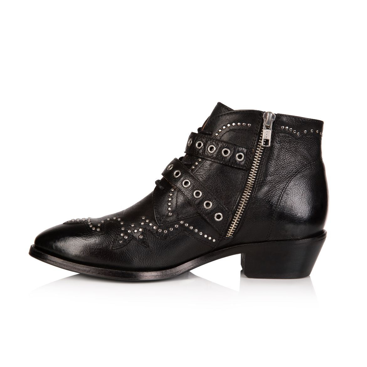 STARLIGHT: BLACK LEATHER ANKLE BOOTS