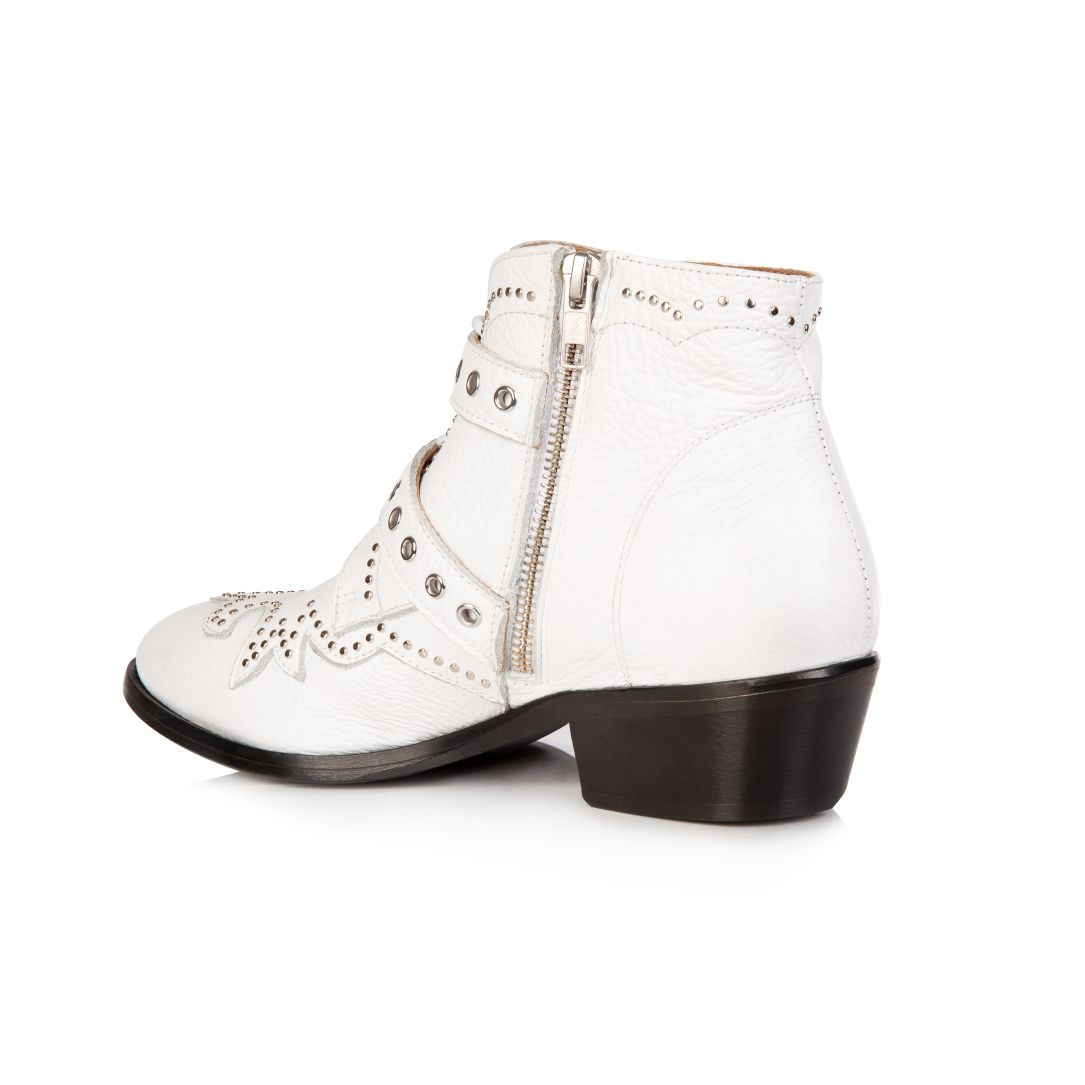 STARLIGHT: WHITE LEATHER ANKLE BOOTS