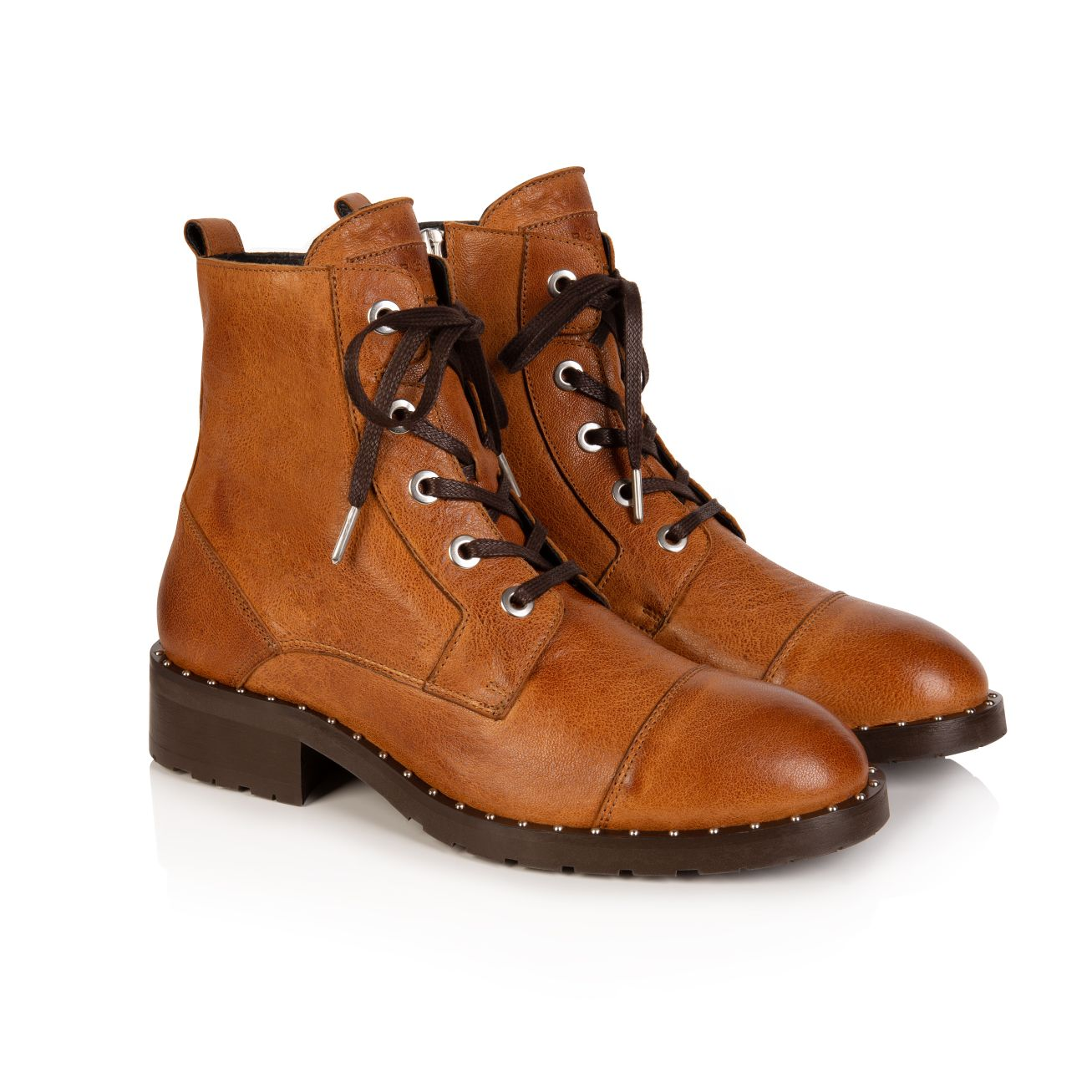 JESSA: TAN LEATHER LACE-UP BOOTS