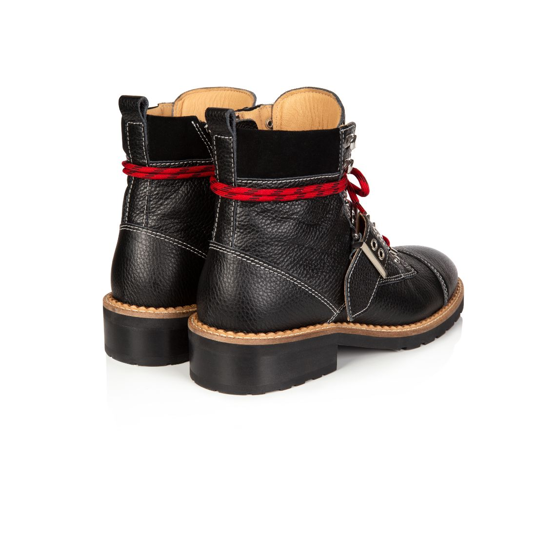 FREYA: BLACK LEATHER HIKER BOOTS