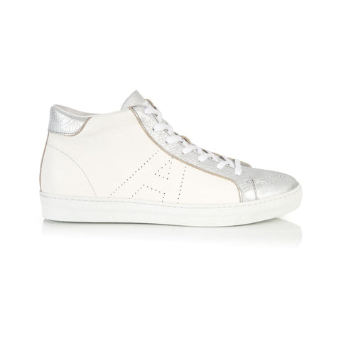 ALTO SIGNATURE: WHITE & SILVER HIGH TOP TRAINER