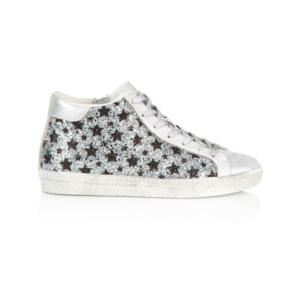 Air & Grace Alto: Silver & Black Star Glitter High Top Trainers