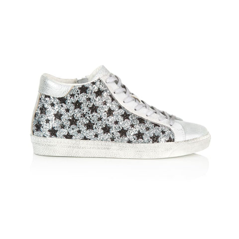 8f9d70f28b8e ALTO: SILVER & BLACK STAR GLITTER HIGH TOP TRAINERS