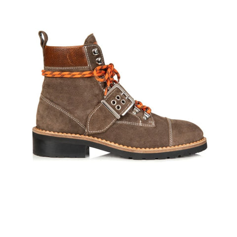 FREYA: SOFT BROWN SUEDE HIKER BOOTS