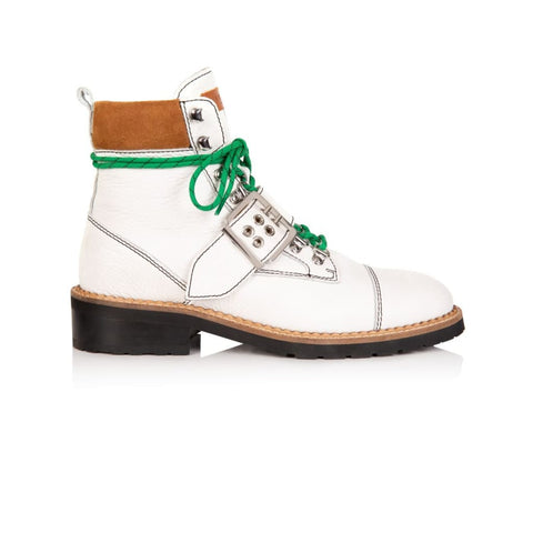 FREYA: WHITE LEATHER HIKER BOOTS