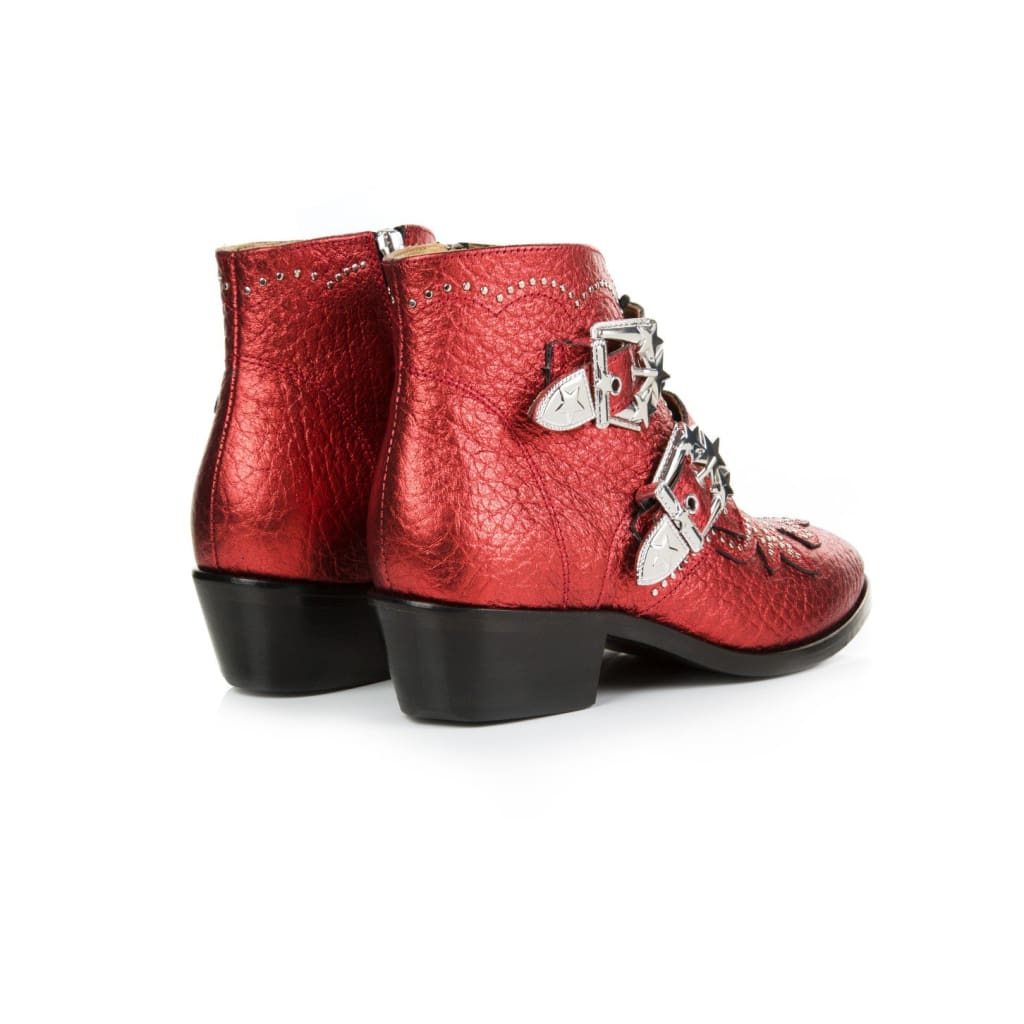 Air & Grace Starlight Red Metallic Leather Ankle Boots: Pre-Order For Dispatch W/c 11Th March