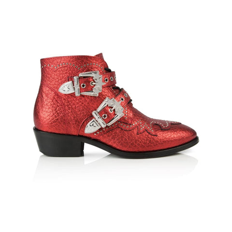 STARLIGHT: RED METALLIC LEATHER ANKLE BOOTS
