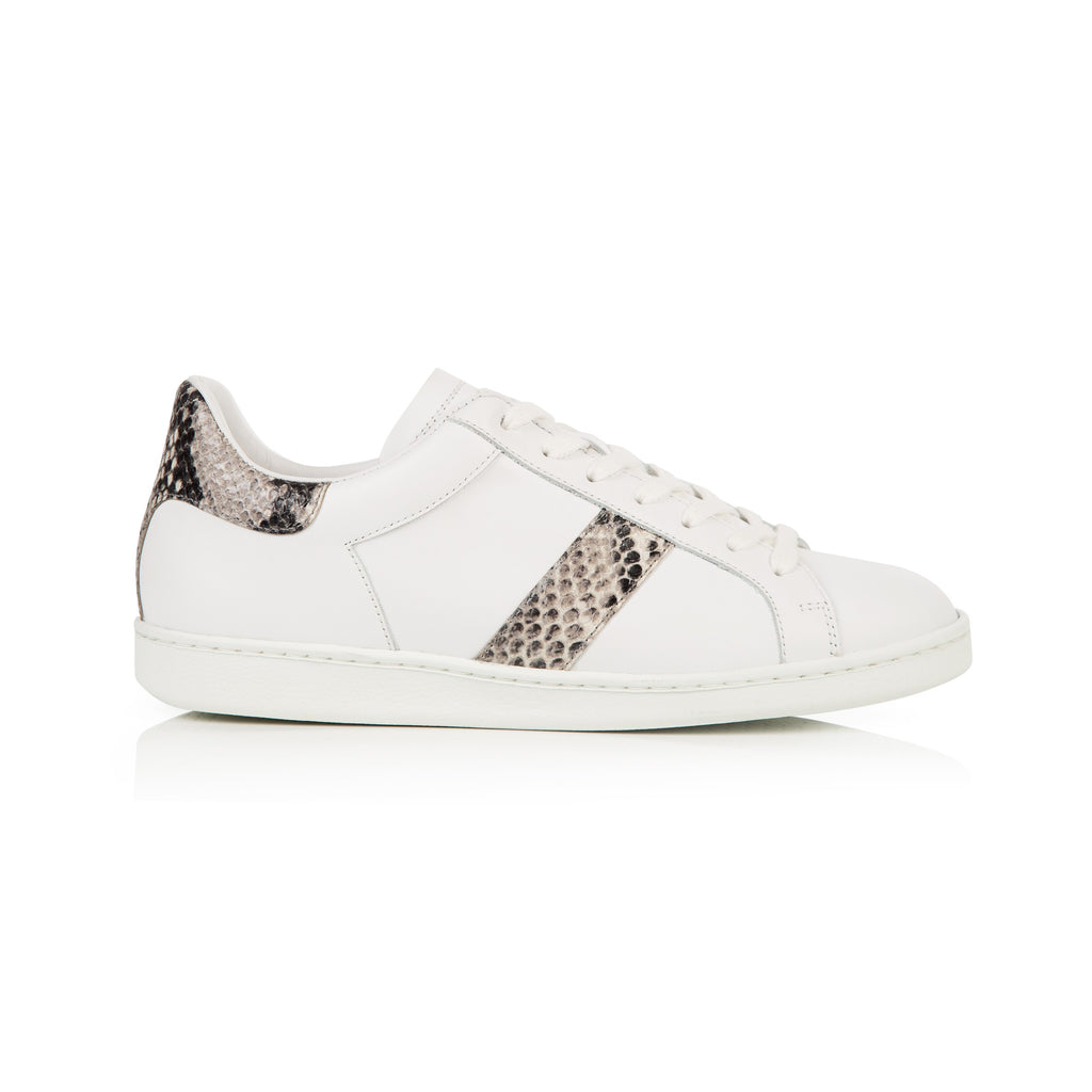 COPELAND: WHITE & NATURAL SNAKE PRINT TRAINERS