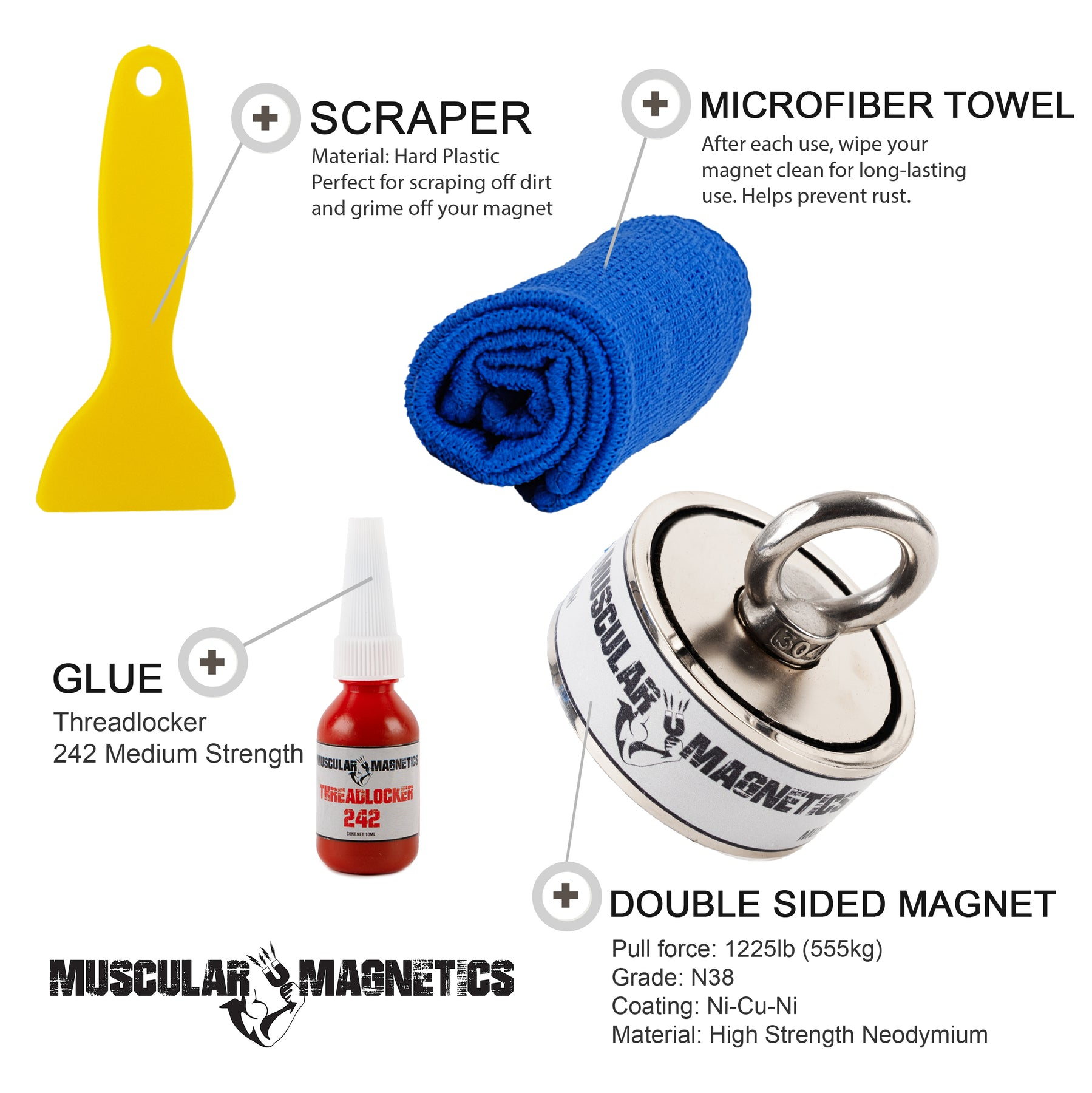 Includes Four Complete Magnet Fishing Kits for Kids to Adults 400lb Single Sided 625lb Single Sided /& 1225lb Double Sided Magnets The Ultimate Magnet Fishing Family Kit 625lb Double Sided
