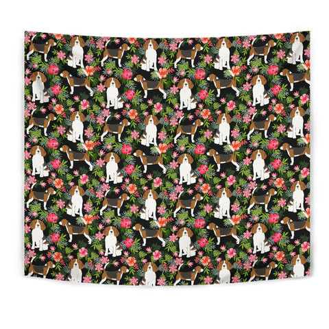 Beagle Dog Floral Print Tapestry